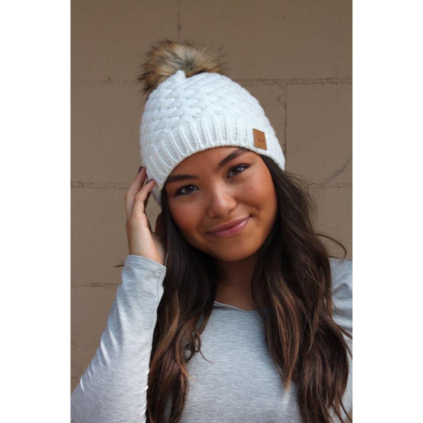 Solid Pom Beanie - The Wooden Hanger Boutique