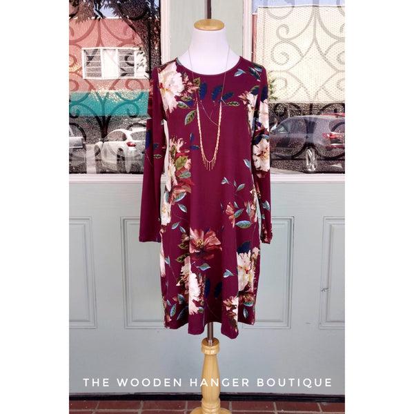 CURVY Fall Is In The Air Floral Dress - The Wooden Hanger Boutique