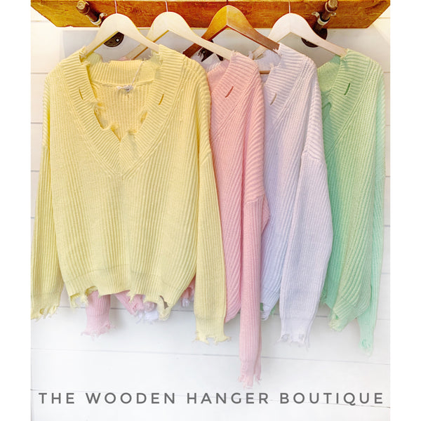 Cry Pretty Frayed Sweater - The Wooden Hanger Boutique