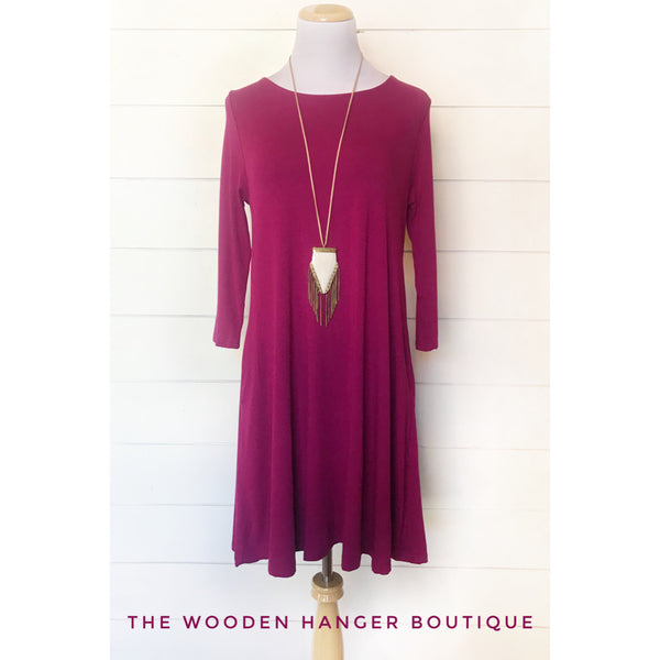 CURVY Berry Festival Swing Dress - The Wooden Hanger Boutique