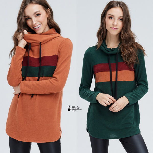 Around The Block Cowl Neck Pullover - The Wooden Hanger Boutique
