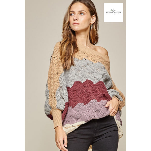 Like A Dream Sweater - Maroon and Grey