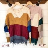 Cinnamon Swirl Frayed Sweater - The Wooden Hanger Boutique