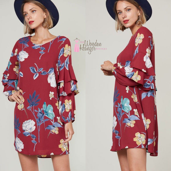 Goodnight Kiss Floral Dress - The Wooden Hanger Boutique