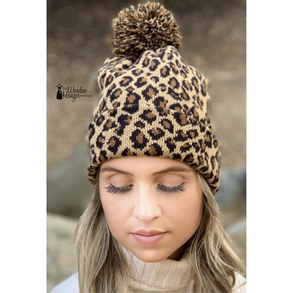 Leopard Print Beanie - The Wooden Hanger Boutique