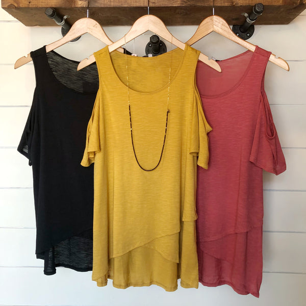 Better Days Cold Shoulder Top - The Wooden Hanger Boutique