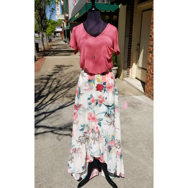 For The First Time Floral Skirt - The Wooden Hanger Boutique