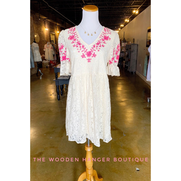 First Date Embroidered Dress - The Wooden Hanger Boutique