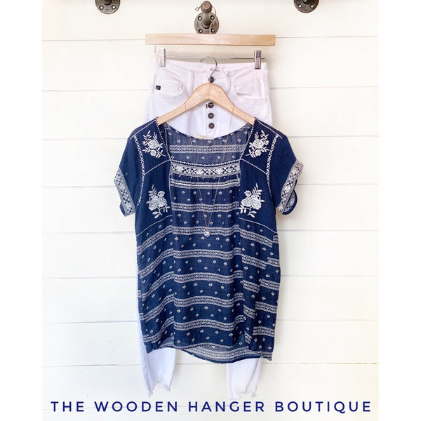 American Blues Embroidered Top - The Wooden Hanger Boutique