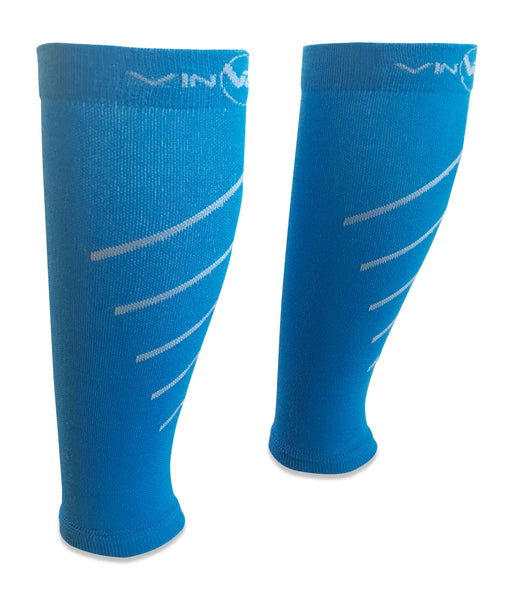 Blue pair of calf compression sleeves