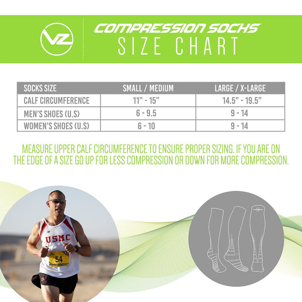 vin zen compression socks sizing chart small/medium and large/xlarge showing a marine running on the pavement
