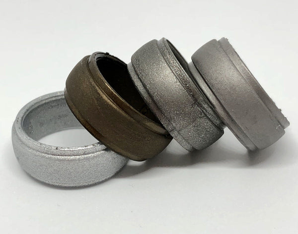 Silicone Wedding Rings for Men | 4 Pack of Bronze , Graphite , Grey , Metallic Silver 8mm width by Vin Zen