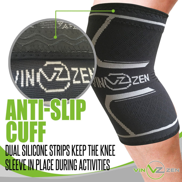knee compression sleeve support brace with anti slip cuff to help the sleeve stay in place during activity