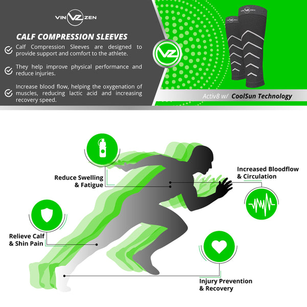 calf compression sleeve graduated comp runners man inforgraphic vin zen logo explaining the benefits of compression socks like moisture wicking sweat away, recovery after working out or long day on your feet, helps vibration while running, decrease inflammation and pain in your calves helps with shin splints