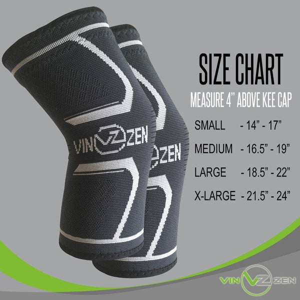 knee sleeve women and men sizing chart small medium large X-large s m l xl
