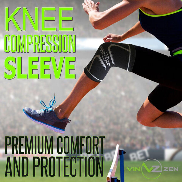 knee sleeve women on her left knee while she is jumping hurdle in track comfort and protection for both men and women