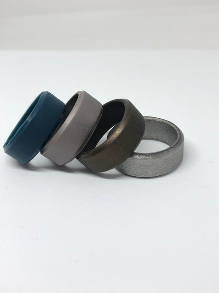 Silicone Wedding Rings for Men | 4 Pack of Bronze , Deep Blue , Grey , Metallic Silver 8mm width by Vin Zen