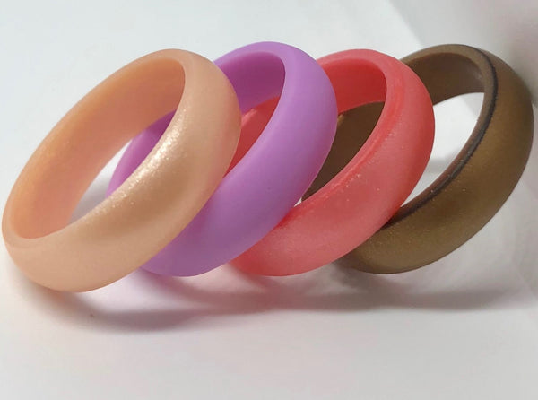 4 pack of womens silicone rubber wedding rings peach, purple, rose gold pink, and bronze
