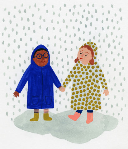 kids holding hand under the rain