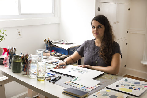artist Kate Pugsley at her desk