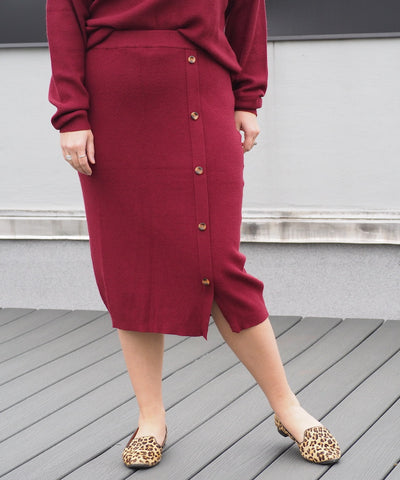 Burgundy Button Sweater Skirt