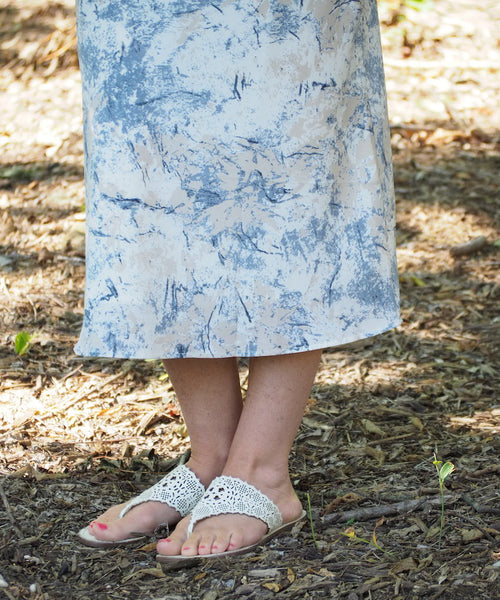 Marbled Satin Midi Skirt