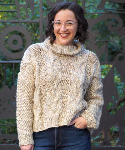 Metallic Cable Knit Sweater