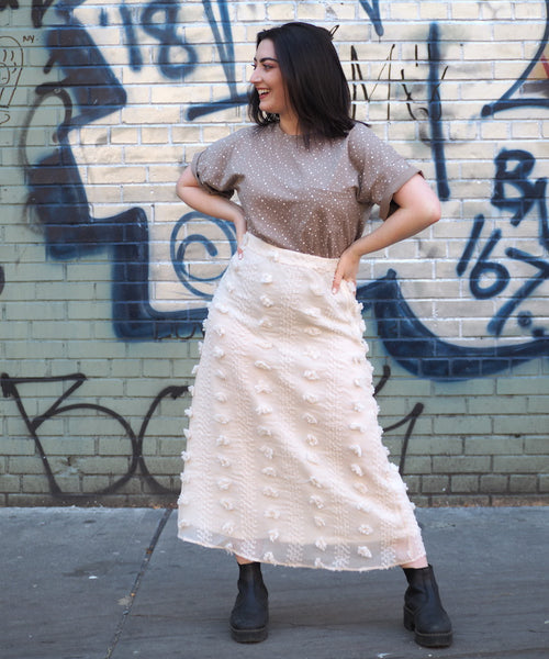 Natural Pom Midi Skirt