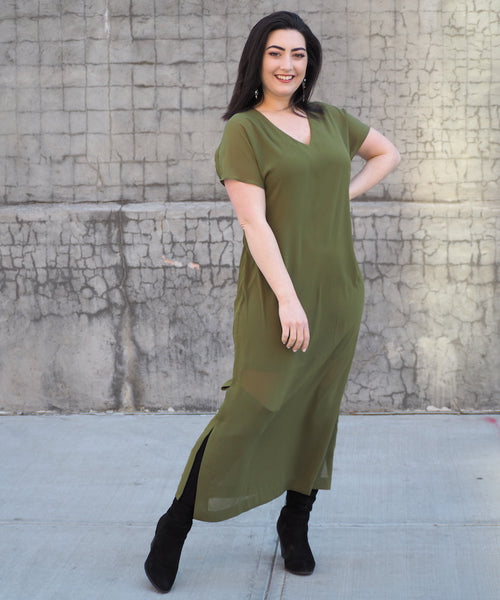 Olive Layered Dress