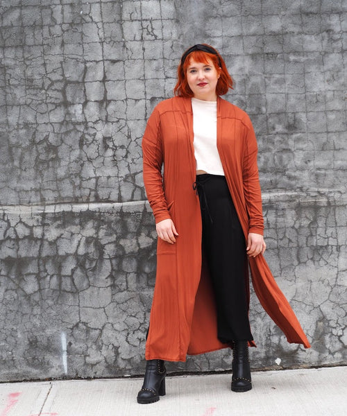 Terra Cotta Seamed Duster