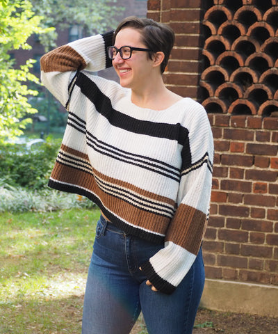 Striped Draped Sweater