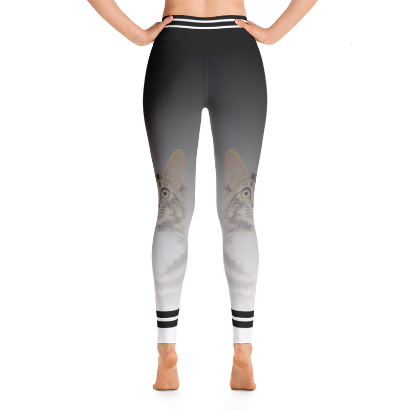 Kitty Cat Yoga Leggings/ Black and white Yoga pants