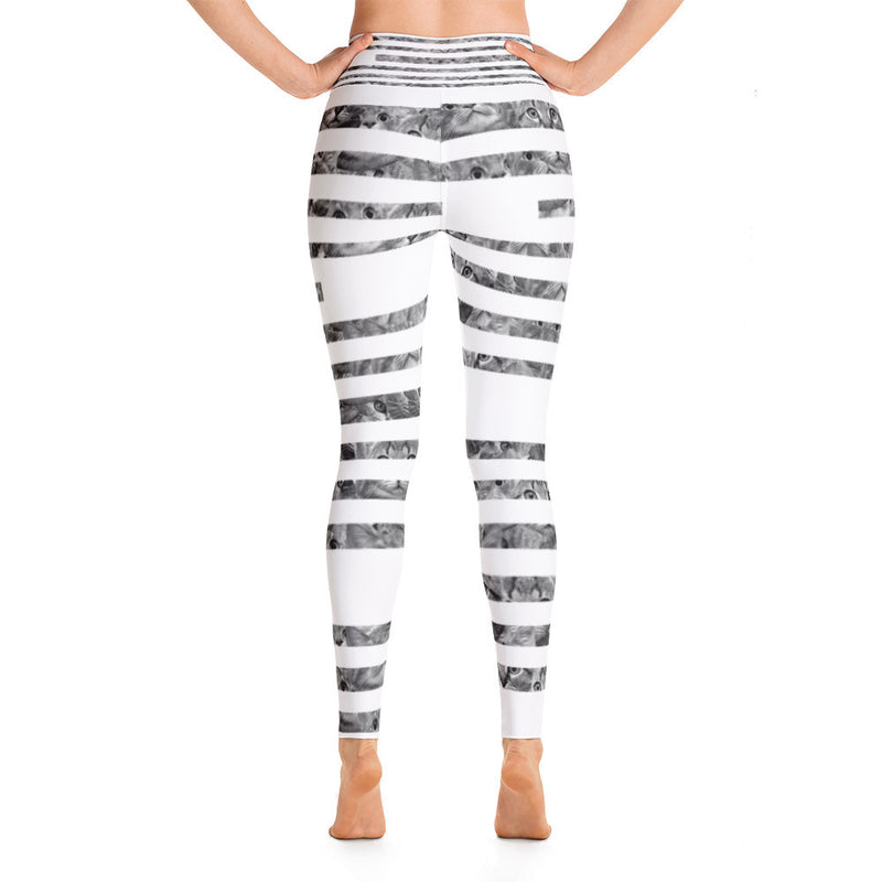 Cat and Strips Yoga Leggings