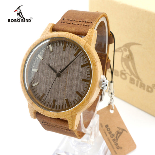 Bamboo Watch Men BOBO BIRD Quartz Leather Watch Wristwatch Clock