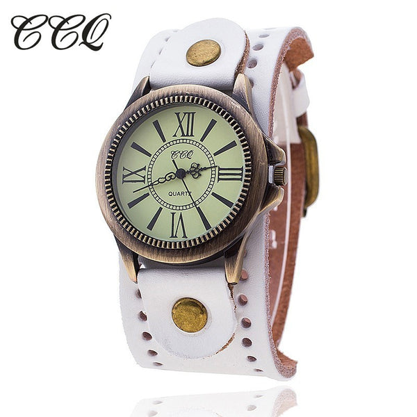 CCQ Brand Vintage Cow Leather Bracelet Women WristWatch Quartz Watch 1391