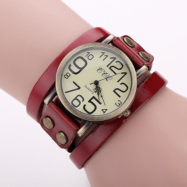 CCQ Brand Antique Leather Bracelet Watch Vintage Women Wrist Watch Quartz Watch BW1373