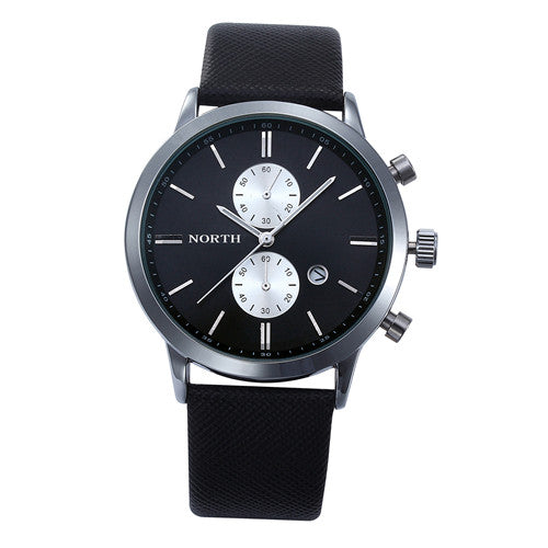 Business Watch Men Genuine Leather Wristwatch Wrist Round Analog Quartz Men Watch