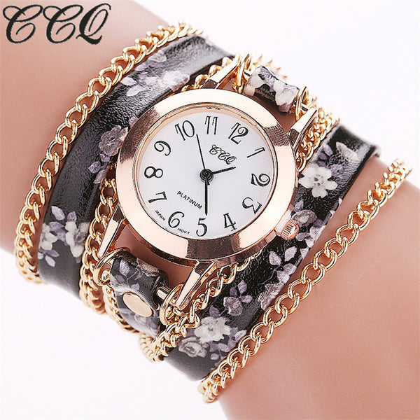 CCQ Women Flower Watch Leather Bracelet Wristwatches Women Quartz Watches 1692