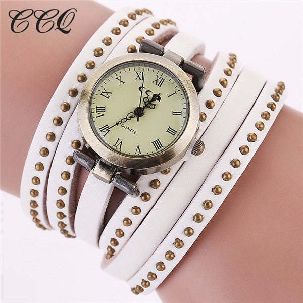 CCQ Vintage Rivet Leather Bracelet Watches Women Quartz Watches Quartz Watch 1158