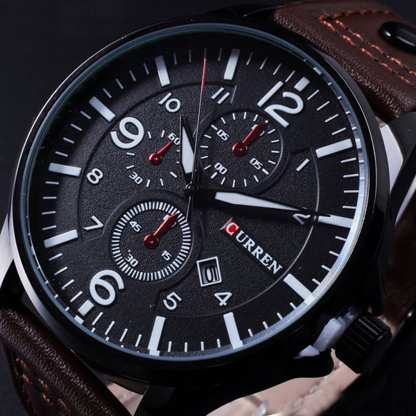 Brand Curren Men's Watch Men Date Clock Men Quartz Watch Leather Wrist Sports Watches Military Army