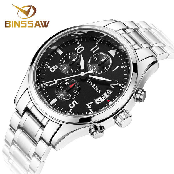 BINSSAW Men Quartz Watch Stainless Steel Leather Luminous Sports Watches