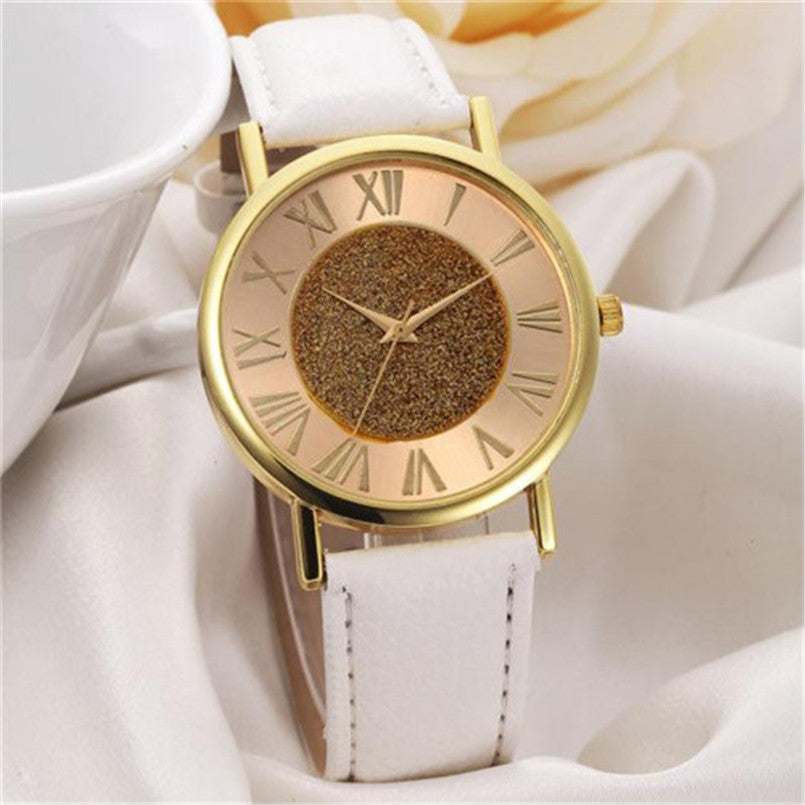 ladies relogio watch roman strap wristwatches watches hour fashion numerals geneva leather luxury gold women