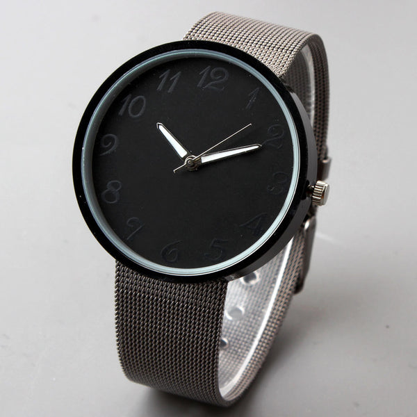 Black Mens Watches full Stainless Steel Strap Quartz Dress Watches Mens Hours de Women Watches