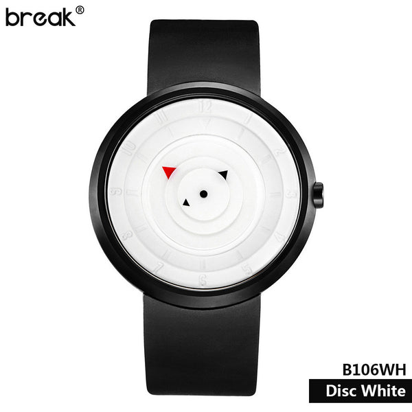 Break men women creative black silicone strap matte stainless steel light sports quartz watches