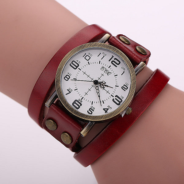 CCQ Vintage Cow Leather Bracelet Watch Antique Women Wrist Watch Quartz Watch 1347