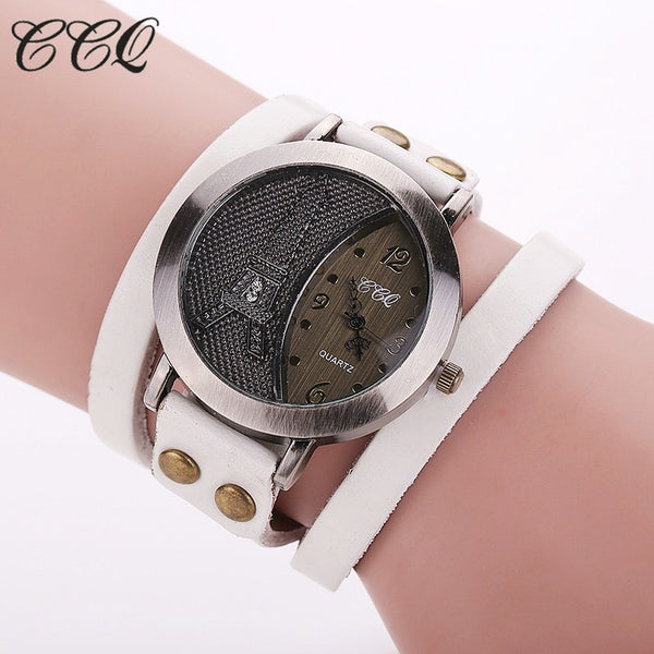 CCQ Brand Vintage Tower Watch Genuine Leather Bracelet Watches Women WristWatch Quartz Watch 1292