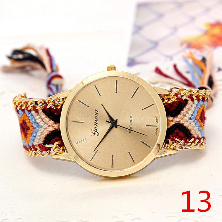 feminino watches quarzt famouus watch friendship women rope brand feather relogio geneva product braided twelve handmade