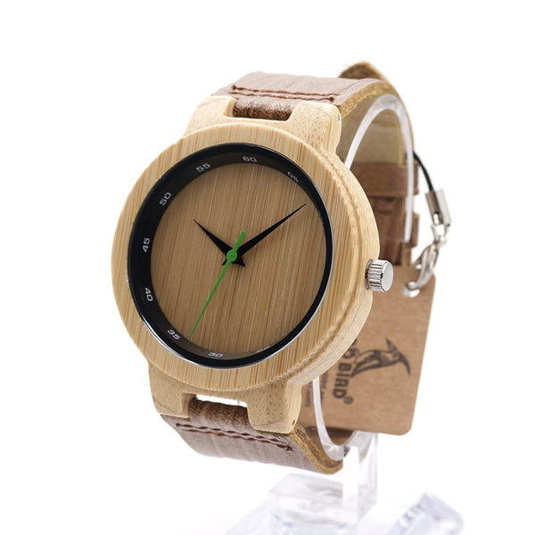 Bobobird RT0434 Mens' Brand Wooden Bamboo Watches With Real Leather Quartz Watch in Box