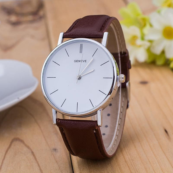 Geneve Silver Stainless Steel Round Dial PU Leather Quartz Business Dress Wrist Watch Wristwatches men Women