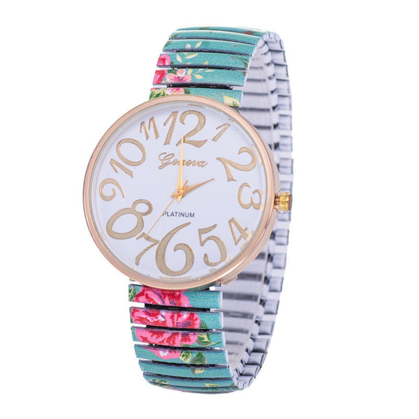 4-Colors Sale Geneva Rural Wind Flower Bracelet Watch Women Quartz Watches W157
